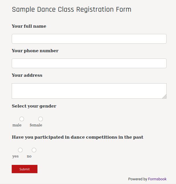 Dance Class Registration Form