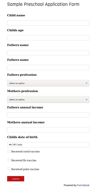 Preschool Application Form
