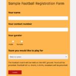sample football registration form